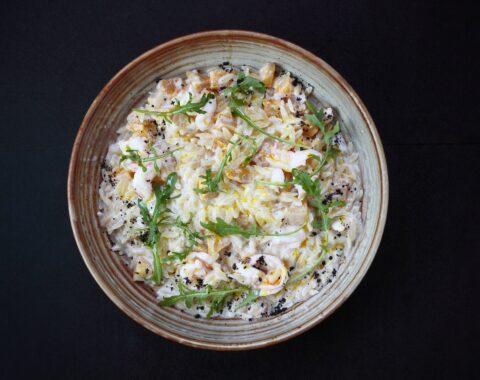 паста орзо с креветками и печеной тыквой